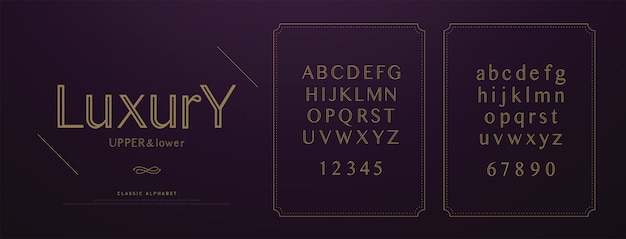 Elegant wedding luxury alphabet letters font set.