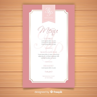 Elegant wedding menu template