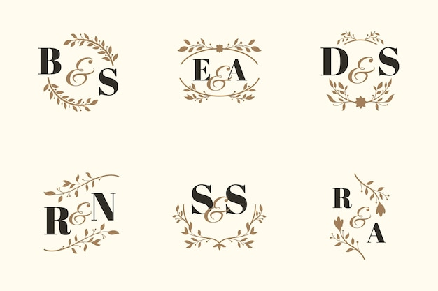 Elegant wedding monogram collection concept