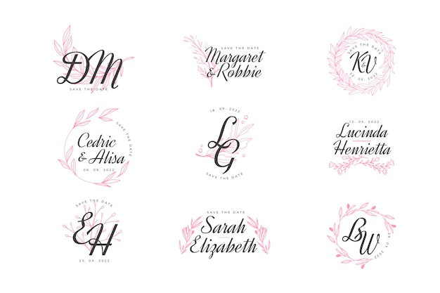 Elegant wedding monogram pack