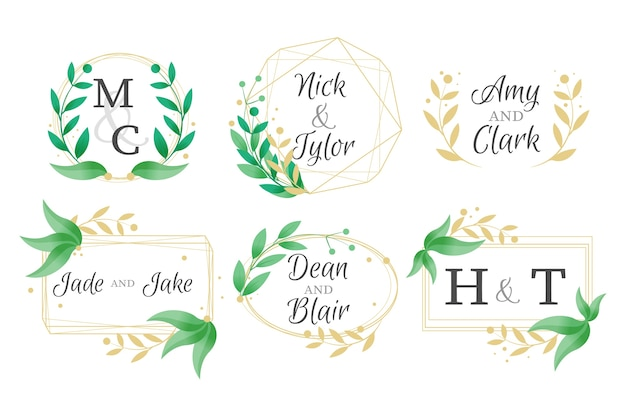 Elegant wedding monograms set