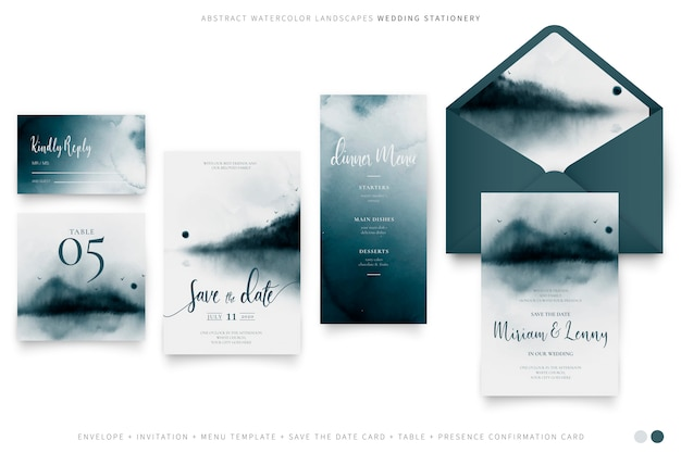 Elegant wedding set with abstract watercolor landscapes