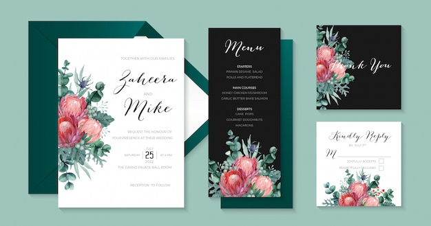 Elegant wedding stationary collection with protea, eucalyptus, thistle, dusty miller and berries