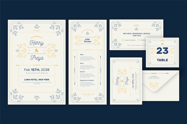 Elegant wedding stationery set