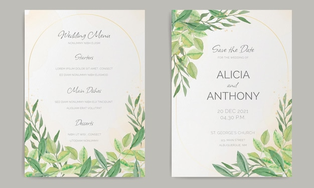 Elegant wedding stationery with watercolor decoration