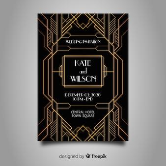 Elegant wedding template in art deco design