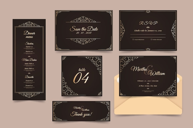 Elegant wedding template collection