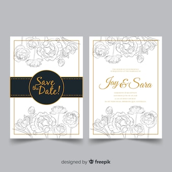 Elegant wedding template with peony flowers