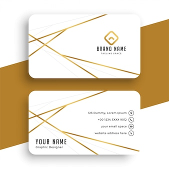 Elegant while and gold business card template design