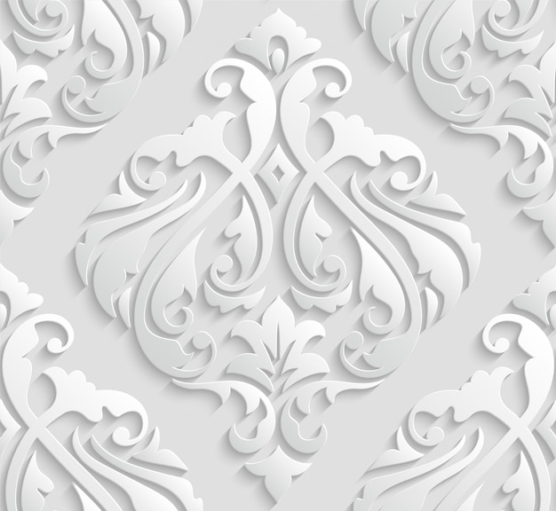 Elegant white 3d damask seamless pattern