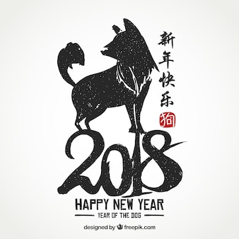 Elegant white and black chinese new year background with dog