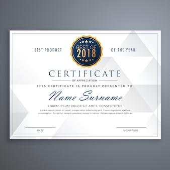 Modello di clean design certificati bianchi