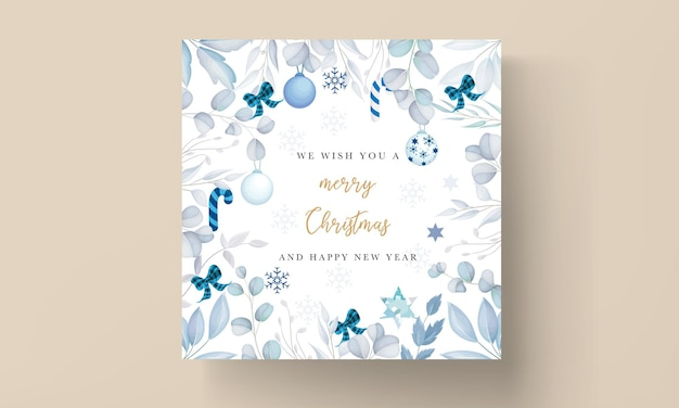 Elegant white christmas card design with leaves and christmas ornament