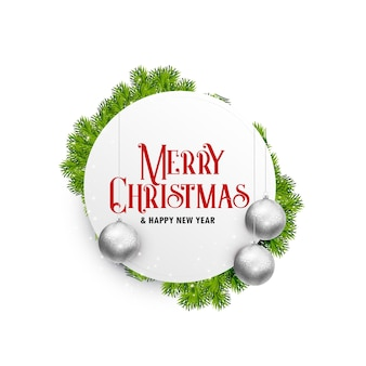 Happy new year merry christmas greeting card free vector vectors elegant white christmas greeting card design with hanging balls and leaves m4hsunfo