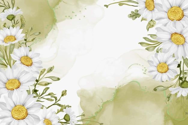 Элегантный белый цветок ромашки с фоном алкогольных чернил