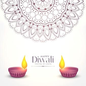 Elegant white diwali illustration with two diya