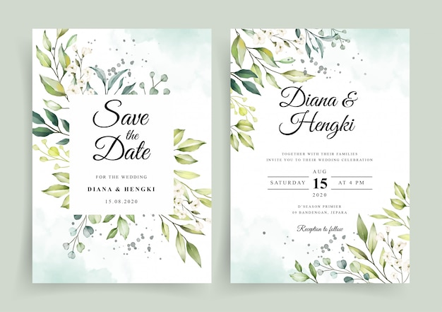結婚式の招待カードテンプレートにエレガントな白い花の水彩画