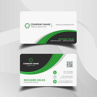Elegant white and green business card template