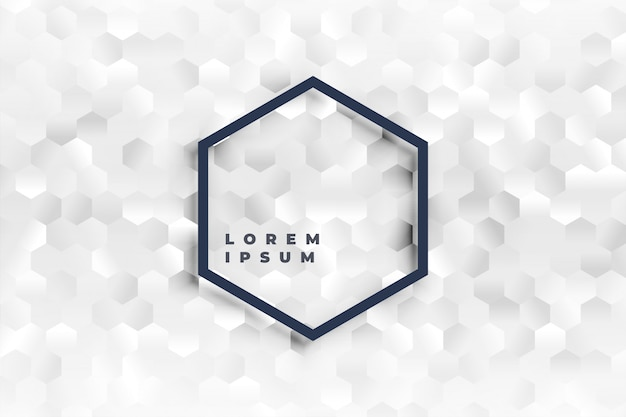 Elegant white hexagonal shapes pattern background