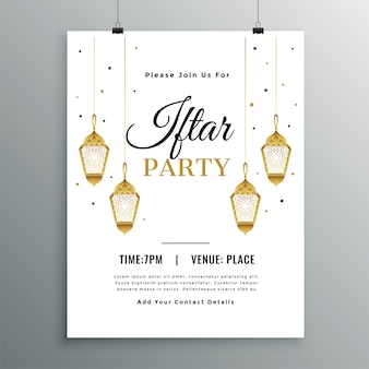 Elegant white iftar party invitation template