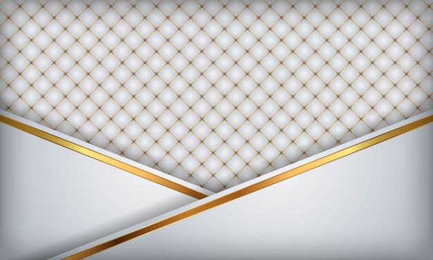 Elegant white luxury background. white leather textured with gold metal details.