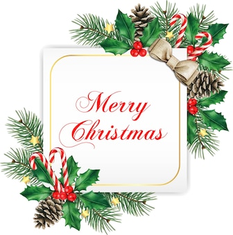 Elegant white square christmas greeting card
