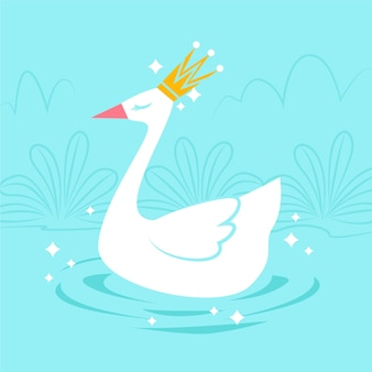 Elegant white swan swimming on a lake