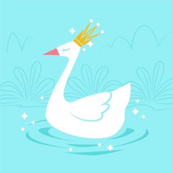 Элегантный белый лебедь плавает на озере
