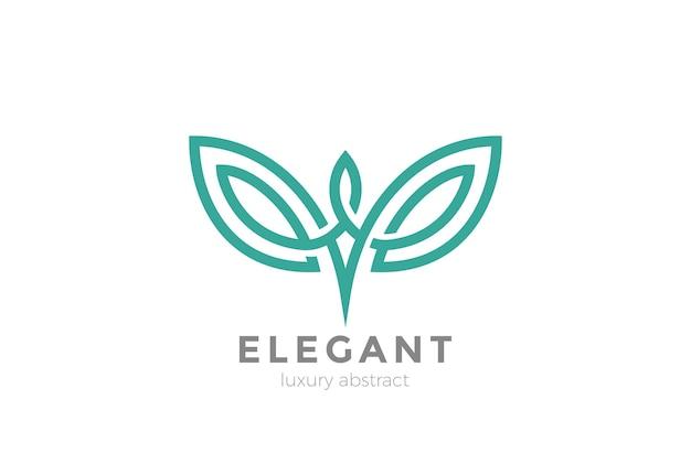 エレガントな翼のロゴは白で隔離