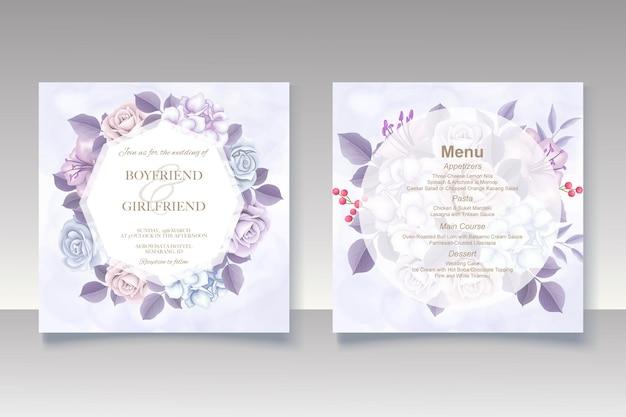 우아한 겨울 꽃 템플릿 웨딩 카드