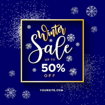 Elegant winter sale banner with glitter