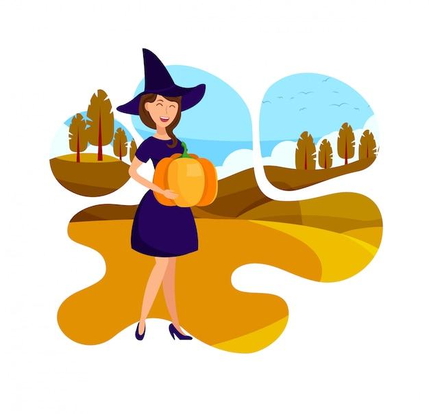 Elegant witch holding pumpkin flat illustration