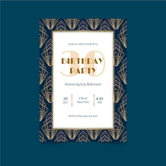 Elegant with frame birthday invitation template