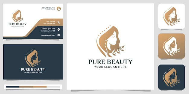 Elegant woman face, hairdresser, beauty salon logo design with business card template.premium vector