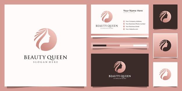 エレガントな女性のヘアサロンのゴールドのグラデーションのロゴのデザインと名刺