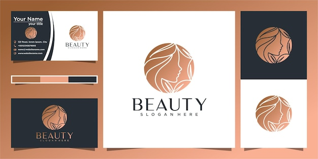 Elegant woman hair salon gold gradient logo design and business card