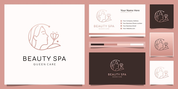 Elegant woman hair salon, spa and flower logo design and business card