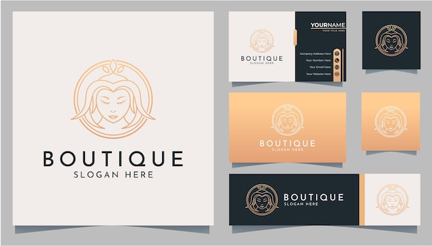 Elegant woman head line art logo and business card