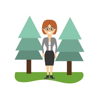 Elegant woman wearing glasses and pine trees