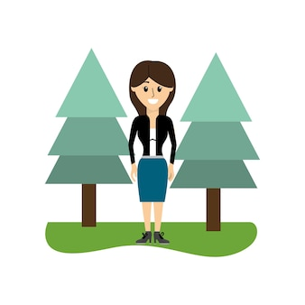 Elegant woman with clothes and pine trees