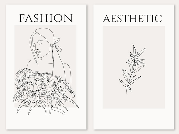 Элегантная женщина с дизайном букета роз в модном стиле арт линии эстетический женский силуэт вектор