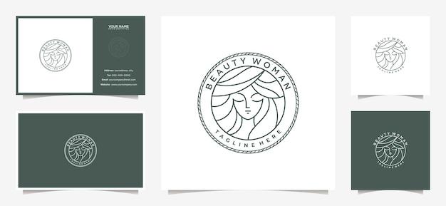 エンブレムスタイルと名刺とエレガントな女性のロゴのデザイン