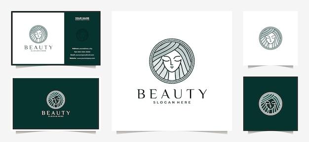 ラインアートスタイルと名刺でエレガントな女性のロゴのデザイン