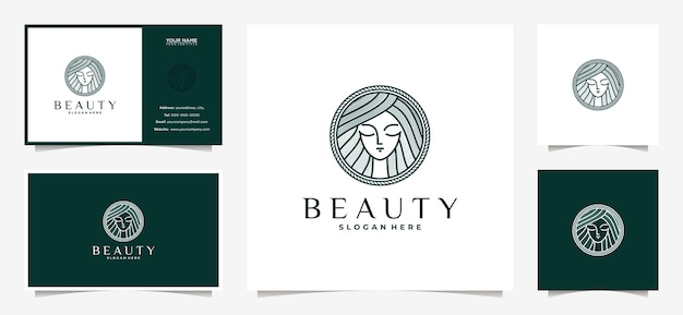 Elegant women logo design with line art style and business card