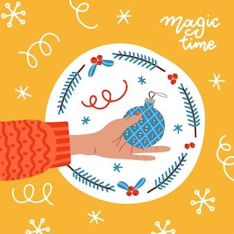 기하학적 장식 휴일 인사말 카드 공동 크리스마스 트리 공을 들고 우아한 여자 손