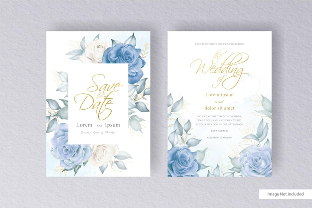 손으로 그린 수채화 꽃과 잎 우아한 화 환 꽃 결혼식 초대장 서식 파일 설정