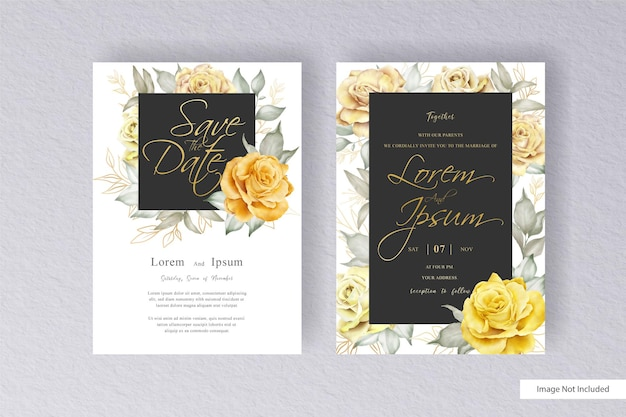 Elegant wreath floral wedding invitation template set with hand drawn watercolor floral and leaves