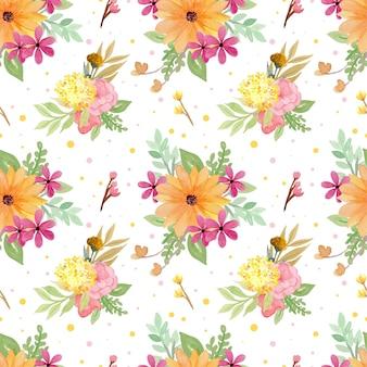 エレガントな黄色と赤の花のシームレスなパターン