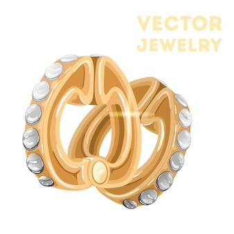 光沢のあるダイヤモンドをあしらったエレガントなイエローゴールドのイヤリング
