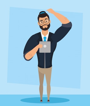 Elegant young man with beard avatar character vector illustration design